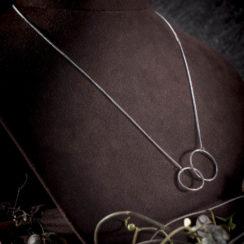 Collier argent pendentif anneau double