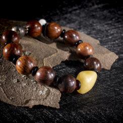 Bracelet argent, dalbergia, ambre, turquoise & ivoire