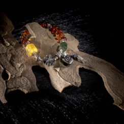 Bracelet argent, ambre, néphrite, turquoise & cristal