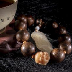 Bracelet Aquilaire, corne de bélier, bodhi