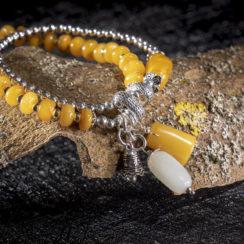 Bracelet argent, néphrite & ambre