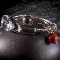 Bracelet argent, agate, ambre & pterocarpus