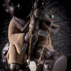 Bracelet en argent plaqué or, turquoise & néphrite