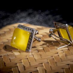 Boucles d'oreilles argent tibétain & ambre