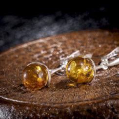 Boucles d'oreilles argent & ambre