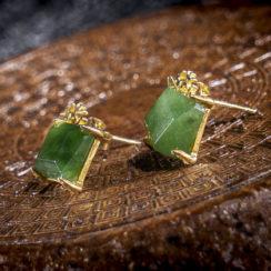 Boucles d'oreilles argent plaqué or et jaspe vert