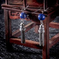Boucles d'oreilles argent tibétain & lazurite